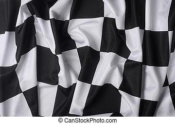 vrai, drapeau ondulant, checkered