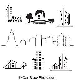 vrai, ensemble, propriété, icones affaires, maisons, arrière-plan., blanc