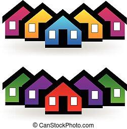 vrai, ensemble, propriété, maisons, vecteur, logo