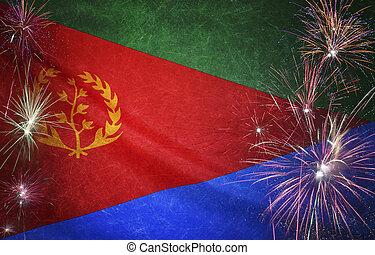 vrai, eritrea, concept, grunge, tissu, drapeau, feud'artifice