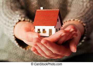 vrai, femme, hypothèque, elle, maison, propriété, tenue, petit, nouveau, hands.