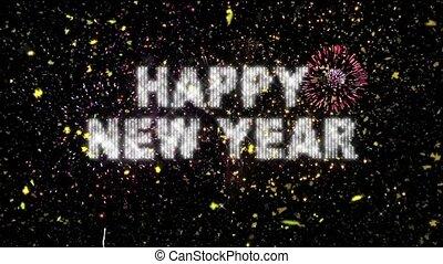 vrai, &, feux artifice, année, confetti, nouveau