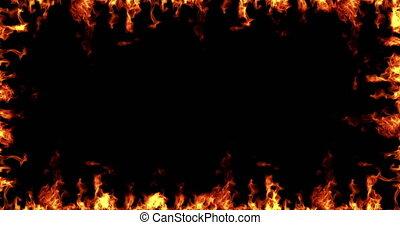 vrai, flammes, trame tir, brulure, seamless, mouvement, arrière-plan noir, prêt, boucle