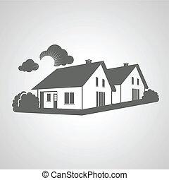 vrai, groupe, propriété, symbole, silhouette, signe, maisons, vecteur, realty, icône, maison