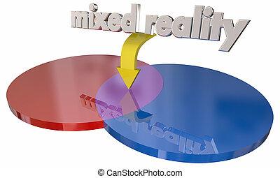 vrai, hybride, réalité virtuelle, diagramme, espaces, illustration, mélangé, venn, 3d