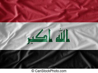 vrai, irak, tissu, texture, drapeau, a