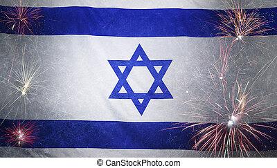 vrai, israël, concept, grunge, tissu, drapeau, feud'artifice