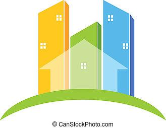 vrai, logo, bâtiments, propriété