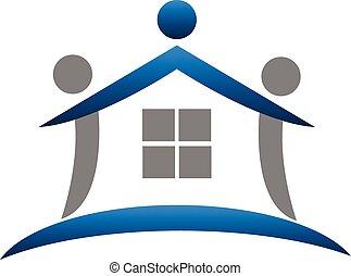 vrai, logo, collaboration, propriété, maison