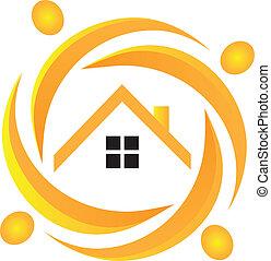 vrai, logo, collaboration, propriété