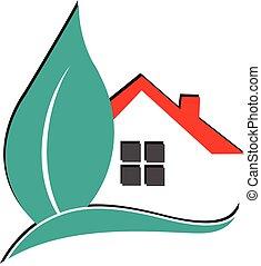 vrai, logo, propriété, maison