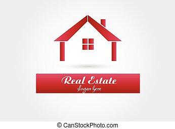 vrai, logo, vecteur, propriété, maison