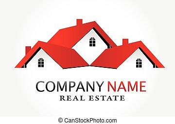 vrai, logo, vecteur, propriété, maisons