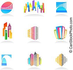 vrai, logos, propriété, icônes, -, /, construction, 2