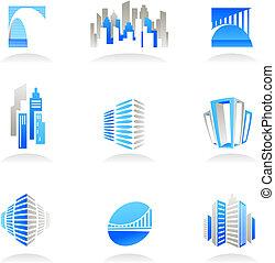 vrai, logos, propriété, icônes, /, construction