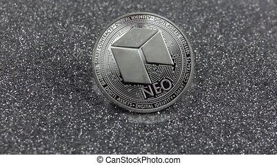vrai, métal, argent, coin., 500fps., chutes, néo-, lent, sparkles., cryptocurrency, mouvement
