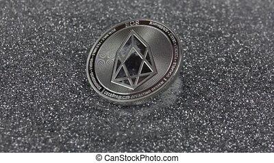 vrai, métal, argent, coin., eos, 500fps., chutes, lent, sparkles., cryptocurrency, mouvement