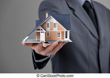 vrai, maison, agent immobilier