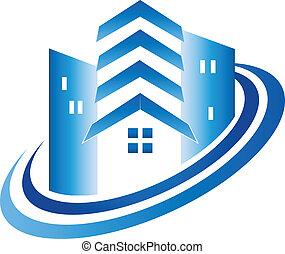 vrai, maison, bâtiments, propriété, logo