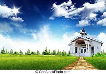 vrai, maison bois, intérieur, propriété, -, conceptuel, assurance maison, propriété, symbole, logement