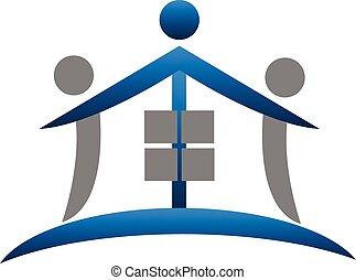 vrai, maison, collaboration, propriété, logo