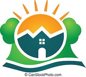 vrai, maison, compagnie, propriété, logo