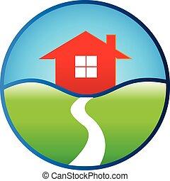 vrai, maison, conception, propriété, logo