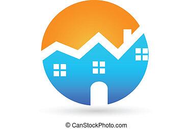 vrai, maison, ensoleillé, propriété, logo