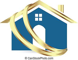 vrai, maison, luxe, propriété, logo