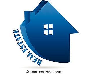 vrai, maison, propriété, business, logo