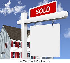 vrai, maison, vendu, propriété, signe