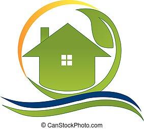 vrai, maison, vert, propriété, logo