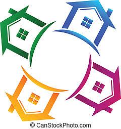 vrai, maisons, 4, propriété, logo