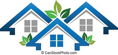 vrai, maisons, compagnie, propriété, logo