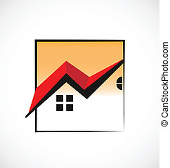 vrai, maisons, encadré, propriété, logo
