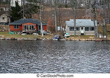 vrai, maisons, -, lac, propriété