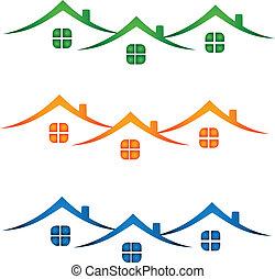 vrai, maisons, propriété, coloré, logo-
