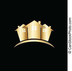 vrai, maisons, propriété, or, logo