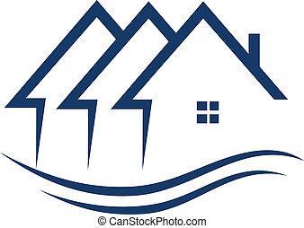 vrai, maisons, vecteur, propriété, logo