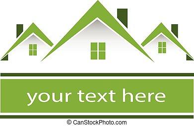 vrai, maisons, vert, propriété, logo