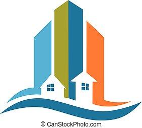 vrai, moderne, logo, bâtiments, propriété