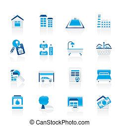 vrai, objets, propriété, icônes