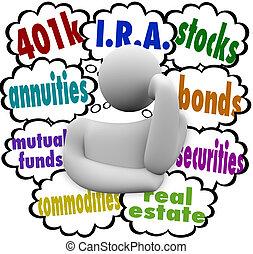 vrai, quel, i.r.a., annuity, propriété, personne, pensée, titres, propriété, liens, fonds communs placement, choix, investir, avenir, 401k, mots, stocks, mieux, émerveillements