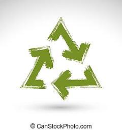 vrai, recycler, réutilisation, créé, simple, vectorized., isolé, signe, fond, balayé, brosse, encre, icône, dessiné, blanc, main, symbole., main-peint