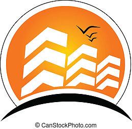 vrai, soleil, bâtiments, propriété, logo