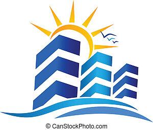 vrai, soleil, logo, propriété, appartements