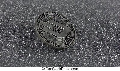 vrai, tiret, métal, argent, coin., 500fps., chutes, lent, sparkles., cryptocurrency, mouvement