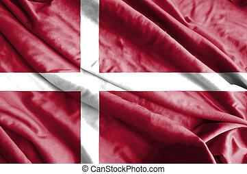 vrai, tissu, denmark., drapeau ondulant, a, texture.