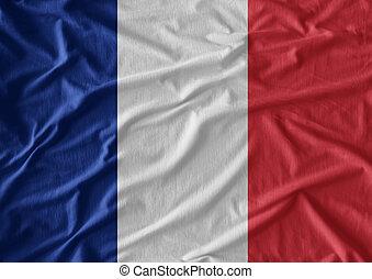 vrai, tissu, drapeau, texture, onduler, france., a