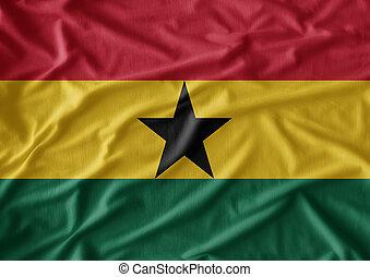 vrai, tissu, ghana., texture, drapeau ondulant, a